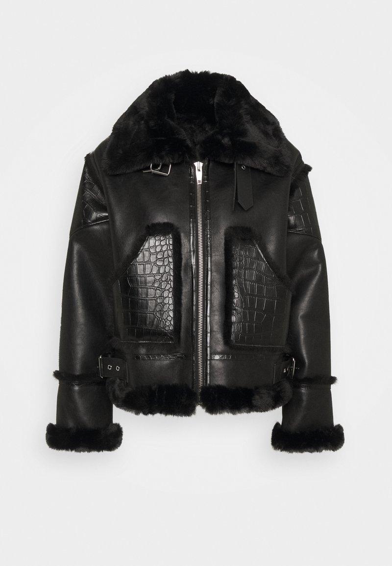 The Kooples - FOURRURE - Imitatieleren jas - black