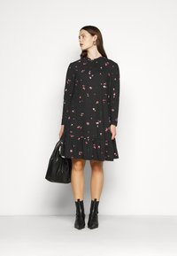 New Look Curves - MILLIE HIGH NECK TIER SMOCK - Day dress - black - 1
