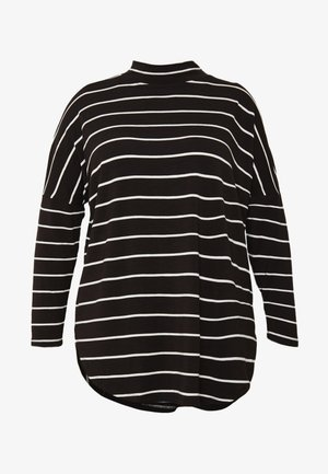 STRIPE TUNIC HIGH NECK - Long sleeved top - black