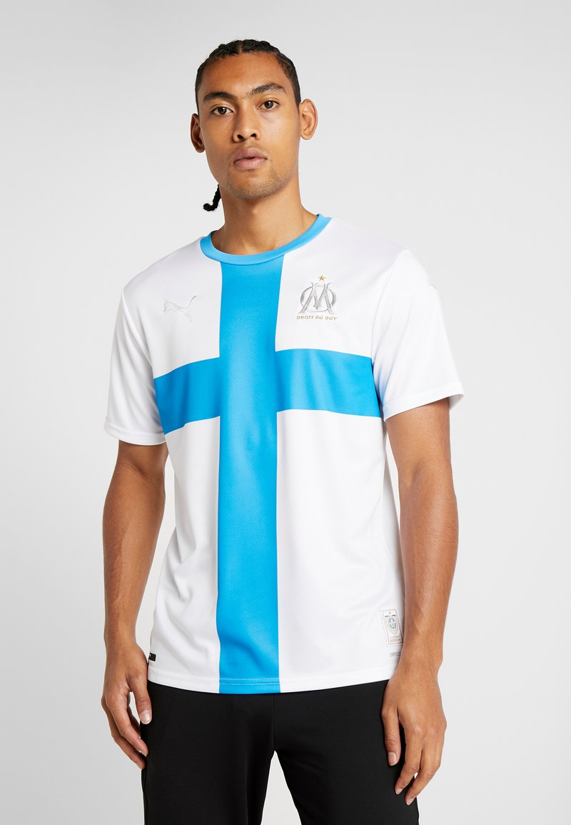 Puma - OLYMPIQUE MARSAILLE REPLICA WITH SPONSOR - Sports shirt - white/bleu azur