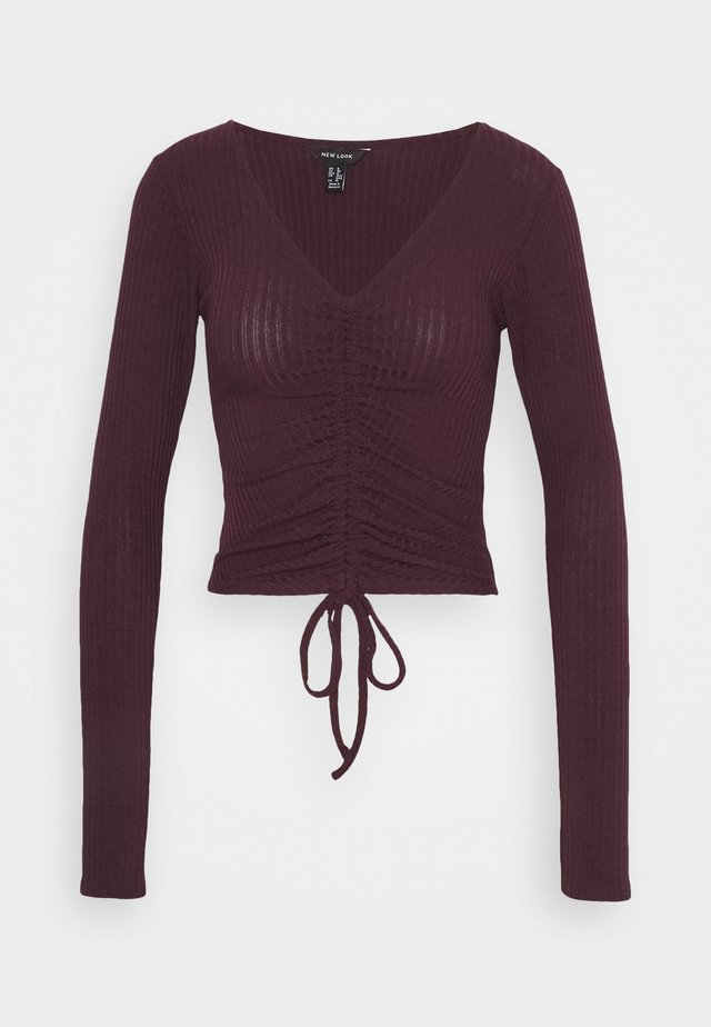 RUCHED FRONT - Long sleeved top - dark burgundy