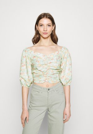BOEL ROUCHED BLOUSE - Blouse - white/pink/green