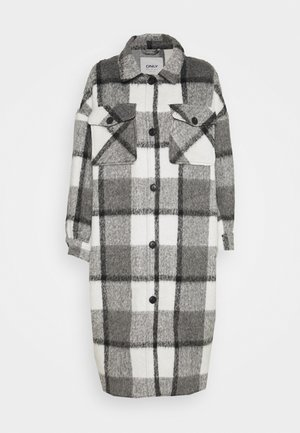 ONLMIA LOU CHECK LONG SHACKET - Classic coat - medium grey melange/black/white