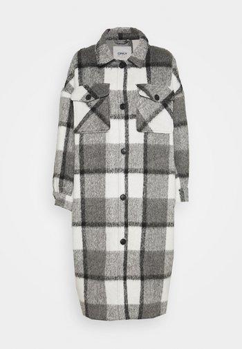 ONLMIA LOU CHECK LONG SHACKET - Klassisk frakke - medium grey melange/black/white