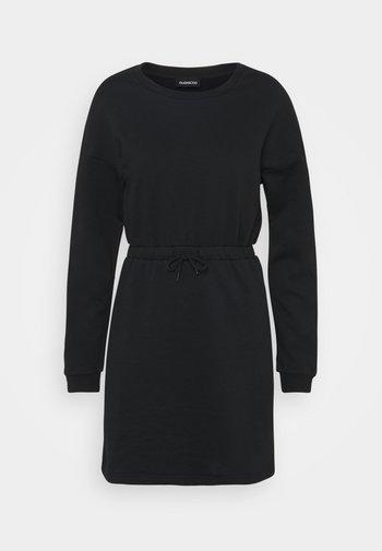 sweat mini drawstring waist dress - Vestido informal - black