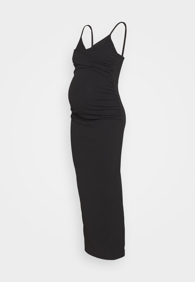 GATHERED WRAP FRONT COWL CAMI DRESS - Maxi dress - black