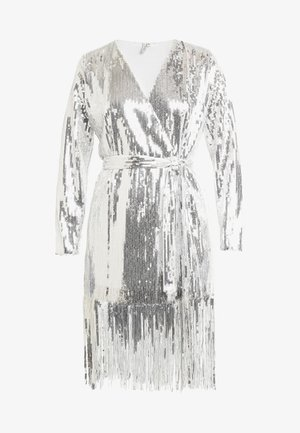 WRAP FRINGE SEQUIN DRESS - Koktejlové šaty/ šaty na párty - silver