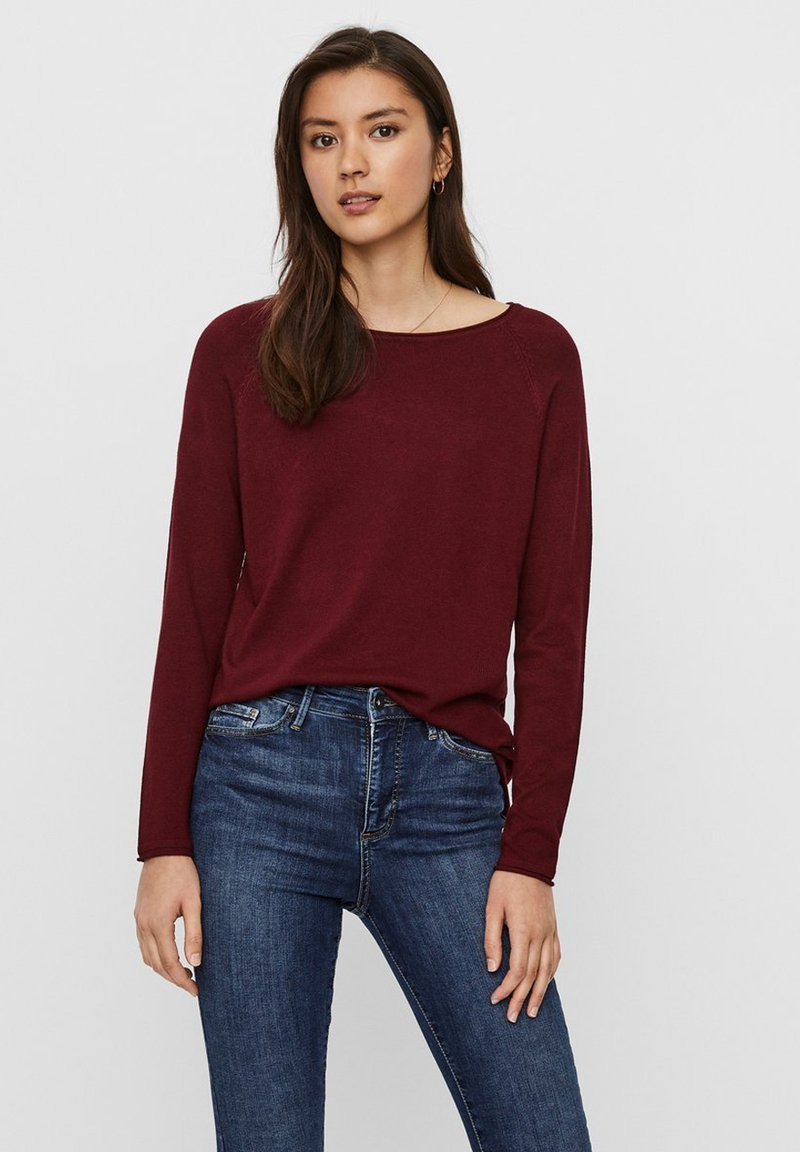 Vero Moda - VMNELLIE GLORY LONG  - Jumper - cabernet