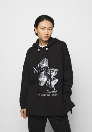 PRINTED HOODIE WITH THICK - Sweat à capuche - black