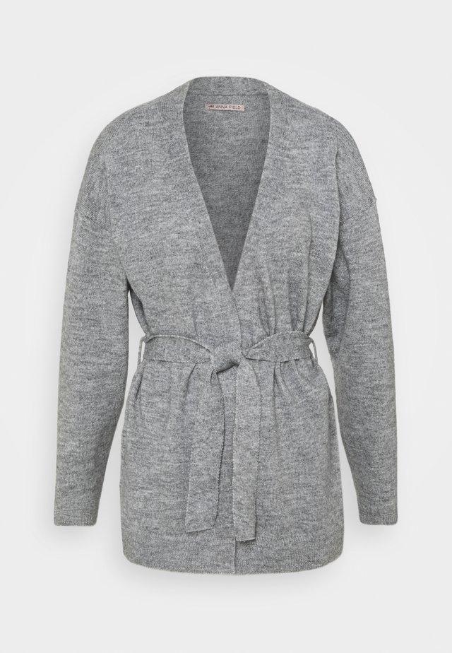 BELTED CARDIGAN  - Kardigan - mottled grey