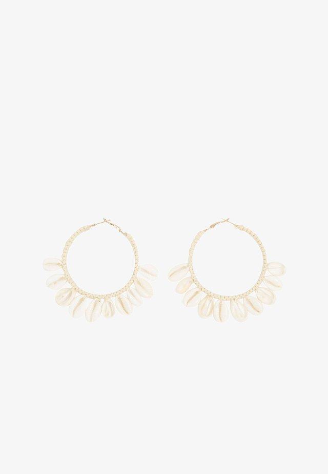 SHELL RAFFIA  - Earrings - white