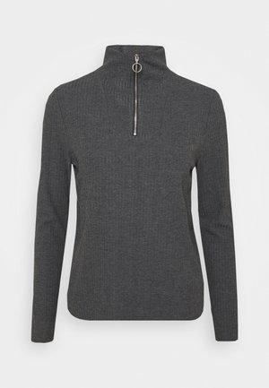 ONLNELLA HALF ZIP - Long sleeved top - dark grey melange