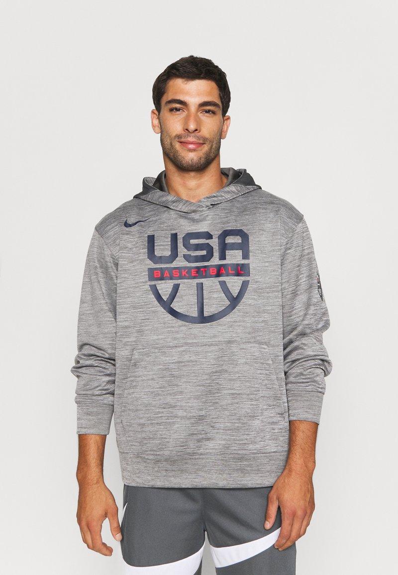 Nike Performance - TEAM USA SPOTLIGHT HOODIE - Sweatshirt - dark grey heather/dark grey