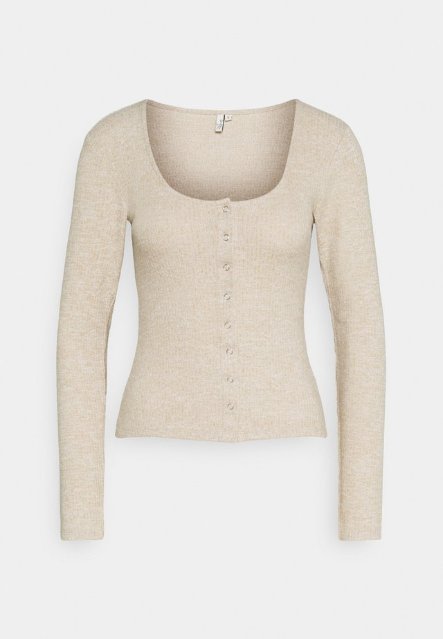 FRONT BUTTON COZY TOP - Long sleeved top - beige