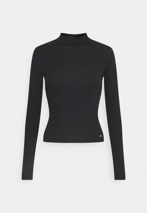 SLIM MOCKNECK - Long sleeved top - black
