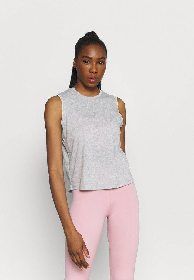 CROCHET TANK - Sports shirt - grey heather/white/platinum tint