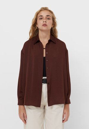 Button-down blouse - dark brown