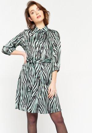 SATIN SHIRT - Shirt dress - turquoise