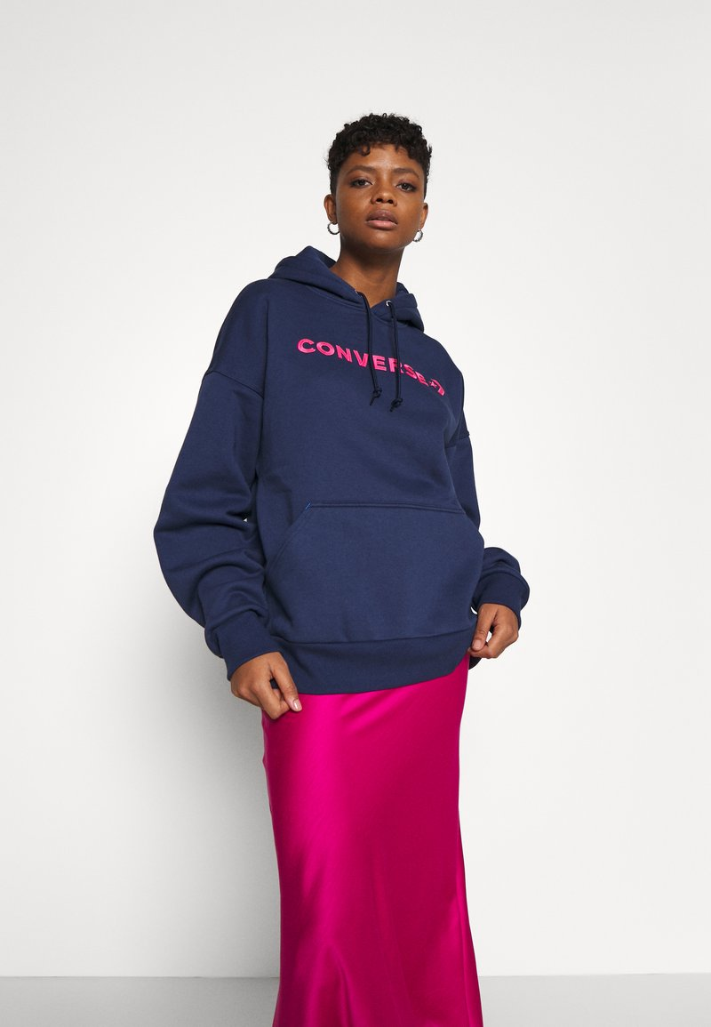 Converse - EMBROIDERED OVERSIZED HOODIE - Sweatshirt - midnight navy