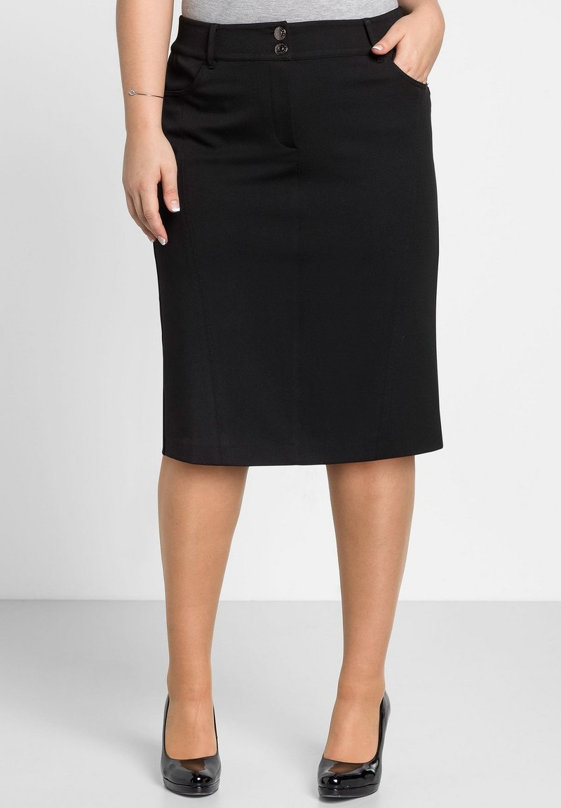 Sheego - Pencil skirt - schwarz