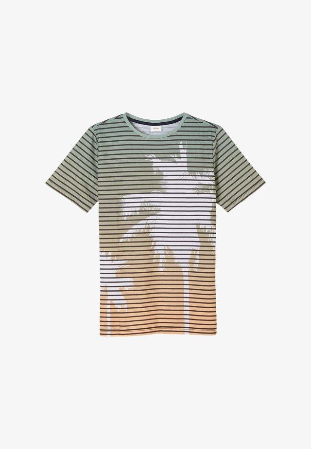 T-shirt print - petrol stripes floral print