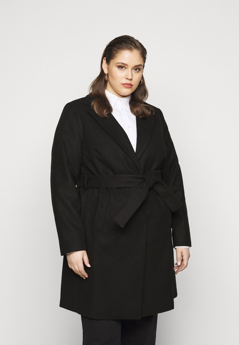 New Look Curves - JORDAN BELTED COAT - Kåpe / frakk - black