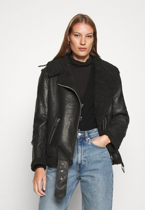 JACKET SIGNE - Faux leather jacket - black