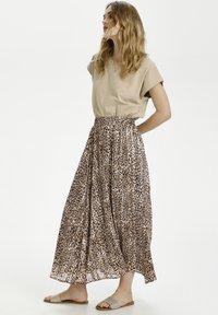 Kaffe - Pleated skirt - brown leo print gold lurex - 1