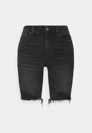 BIKER MID - Denim shorts - fade to black