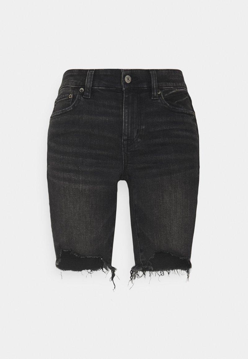 American Eagle - BIKER MID - Shorts di jeans - fade to black