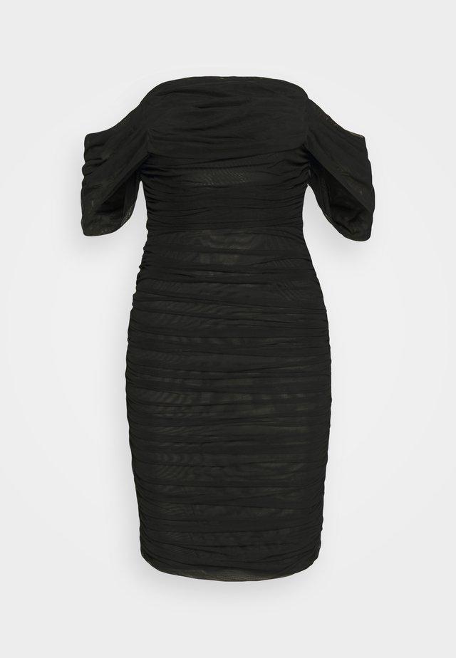 RUCHED BARDOT MINI DRESS - Cocktailklänning - black