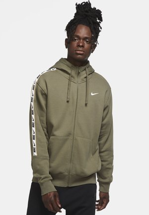 REPEAT HOODIE - Zip-up hoodie - medium olive/white