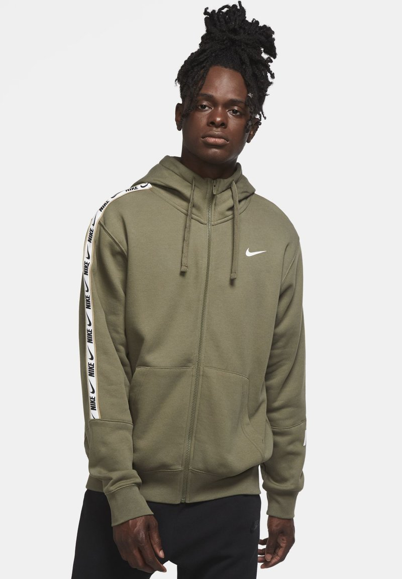Nike Sportswear - REPEAT HOODIE - Zip-up hoodie - medium olive/white