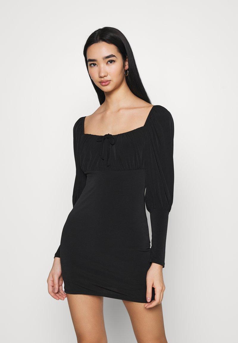 Miss Selfridge - PUFF SLEEVE MINI - Jerseykleid - black