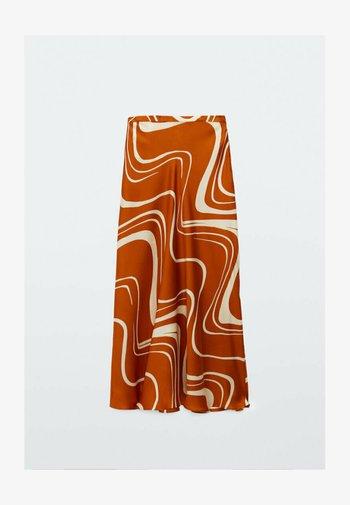 MIT PRINT  - A-line skirt - orange