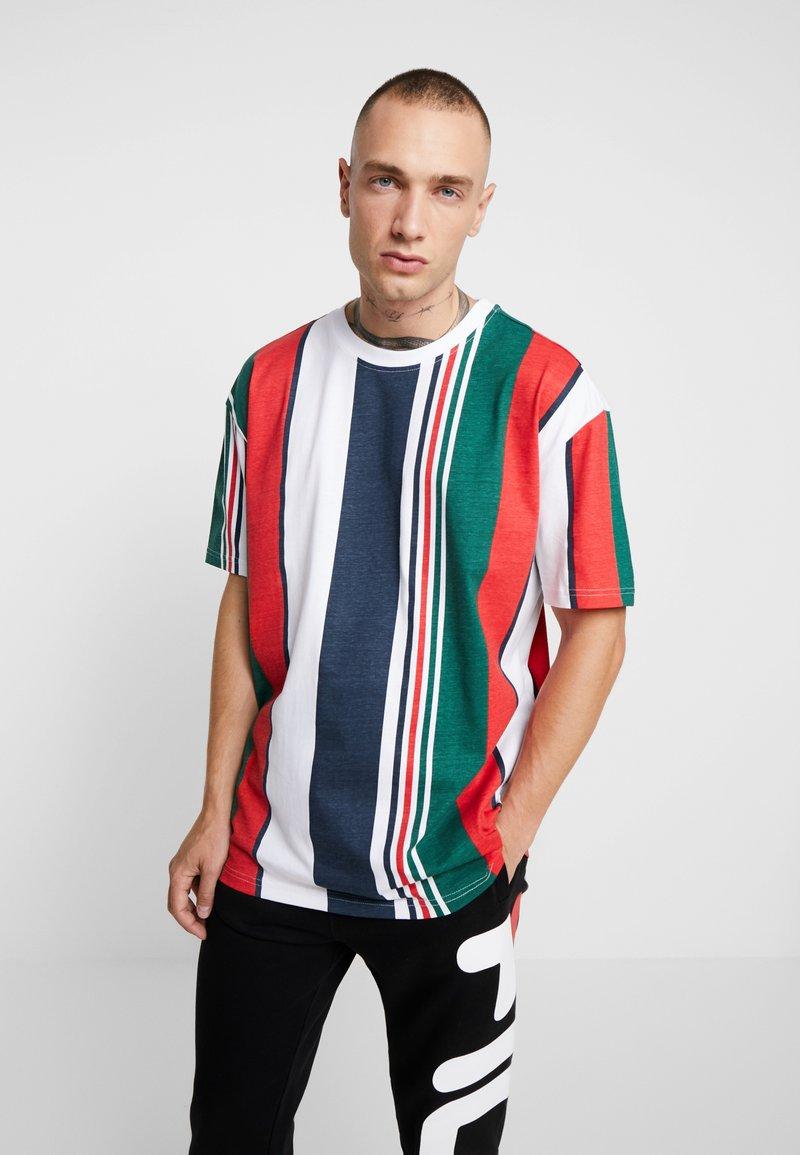 Urban Classics - HEAVY OVERSIZED BIG STRIPE TEE - Print T-shirt - white/navy