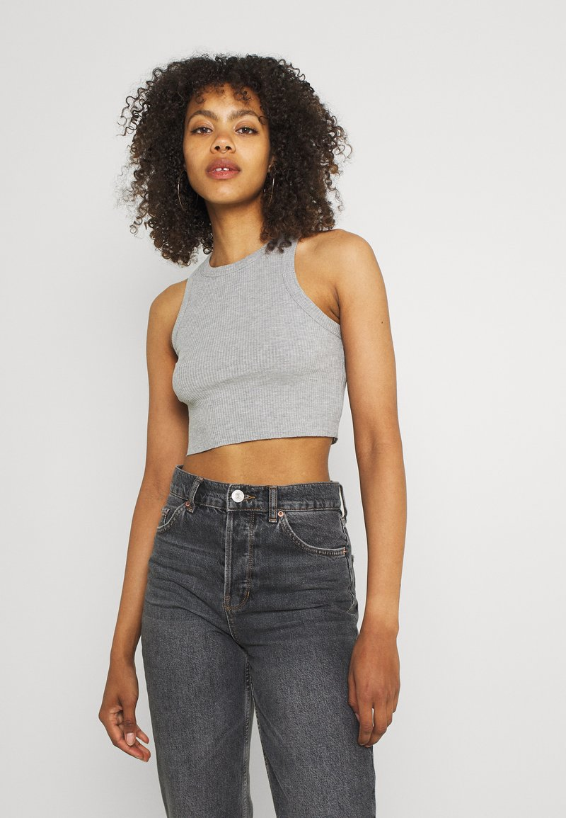 BDG Urban Outfitters - SUPER CROP RACER TANK - Top - grey marl
