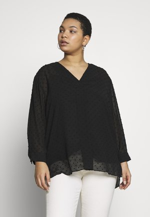 DOT CLIPPED BLOUSE - Blouse - black