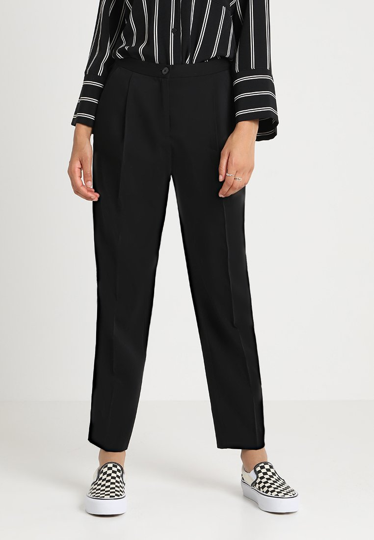 Monki - TARJA TROUSERS - Tygbyxor - black