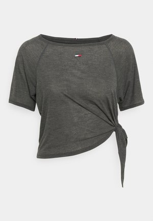 RELAXED TIE HEM BOAT TEE - T-shirt imprimé - black heather