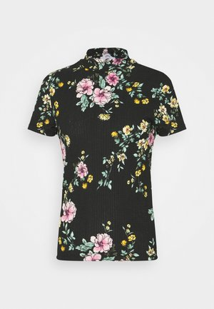 ONLZILLE SMOCK NECK TOP TAL - T-shirts med print - black