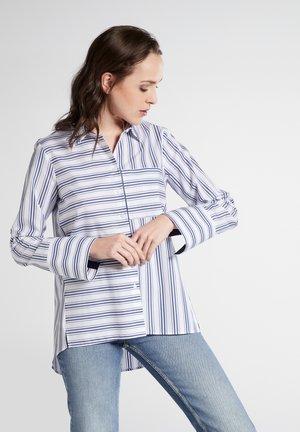 Button-down blouse - navy/white