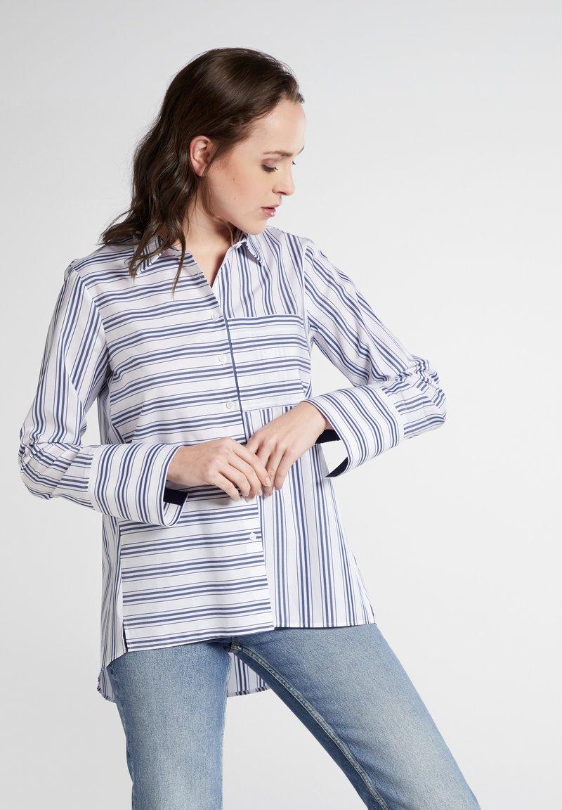 Eterna - Button-down blouse - navy/white