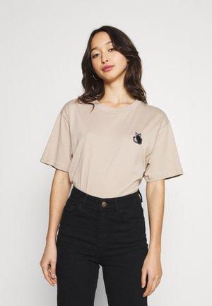 Print T-shirt - beige/black
