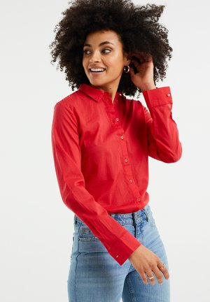 Button-down blouse - coral pink