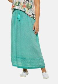 Ulla Popken - Pleated skirt - mottled turquoise - 3