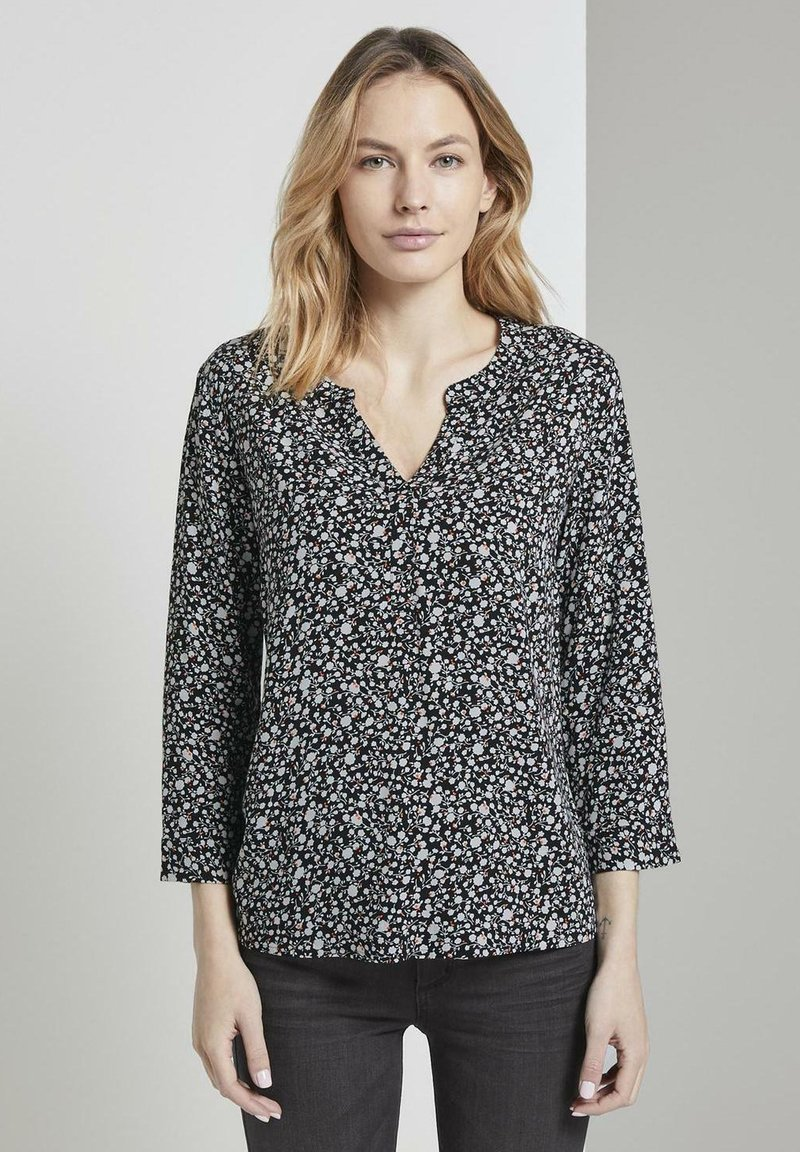 TOM TAILOR - Blouse - black and white