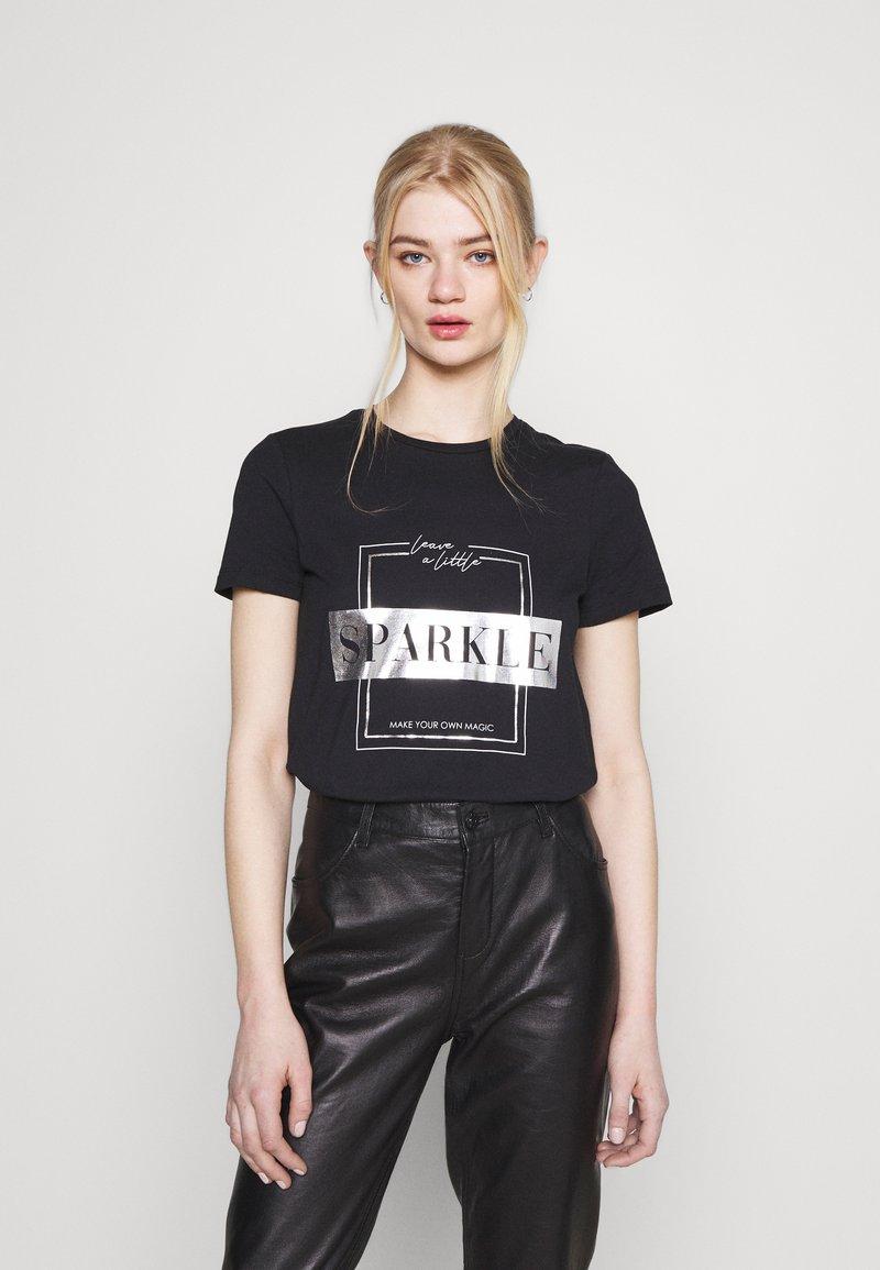ONLY - ONLNEO FOIL - Print T-shirt - black/sparkle