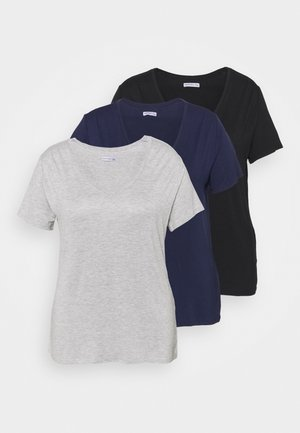3 PACK - T-shirts basic - black/light grey/dark blue
