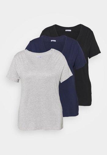 3 PACK - T-shirts - black/light grey/dark blue